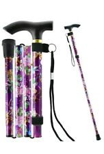 Fancy Sparkly Aluminium Folding Walking Stick Floral Ladies Women Woman NEW / UK