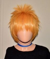 Unisex Anime Short Wig Straight Hair Cosplay Costume Party Halloween Gold Blond