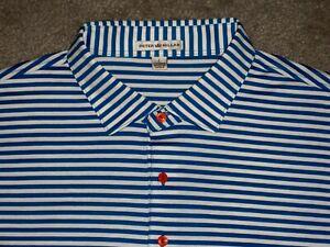 Men's PETER MILLAR Polo Shirt L ROYAL BLUE & WHITE Striped ~ 100% Cotton