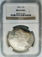 1885 Silver Morgan Dollar NGC MS 63 DPL Deep Mirrors Proof Like PL DMPL Toned