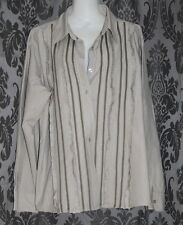 Womens size 18 grey pinstriped button down shirt made by RIVERS