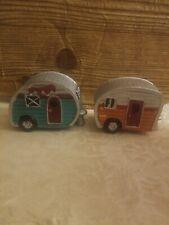 Mini Retro Camper Travel Trailer- Cast Resin Set of 2 Fairy Garden