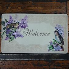 Shabby Chic French Vintage Floral WELCOME Fabric Door Mat Lilac Blossom & Birds