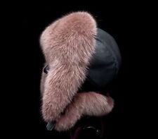 Saga Furs  Mocha Brown Fox Fur Black Leather Handmade Aviator Trapper Unisex Hat
