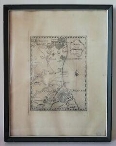 Antik Haute Forte Gravur Dänische Karte Von Copenhagen Kiobenhavn 1766 XVIII