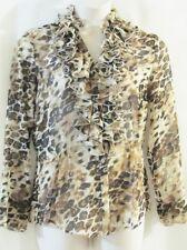 SPIEGEL Brown & Cream/Ivory Leopard Print Ruffled Semi-Sheer Top- Sz 12 -M- NWOT