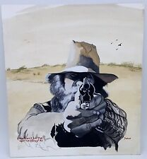 Cyril Naphegyi  Watercolor hand painting portrait 1994. Signed.