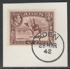 Aden 5283 - 1939 KG6 3/4a on piece with MADAME JOSEPH FORGED POSTMARK