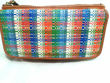 Fossil Tan Leather Straw Flap Checkbook Plaid wallet ~Retail $80