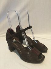 VS Marshal Brown Suede Leather Sandals Chunky Heels Open Toe Women's Sz 9 M