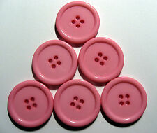 6 x Very Large 34mm wide Resin 4-Hole PALE PINK Buttons
