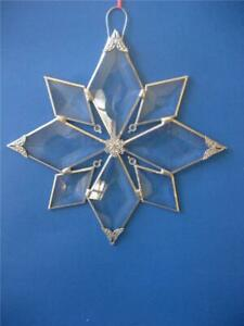 Art Glass Clear Beveled Suncatcher Snowflake Filigree Points Crystals Details 8""