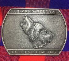 104TH Division TNG US ARMY RESERVE MILITARY PEWTER BELT BUCKLE Wolf Howling