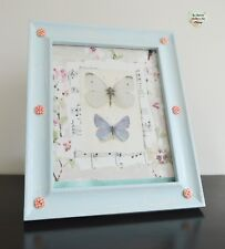 Blue Button Photo Frame Large Hand Painted Crackle Effect Hung On a Wall