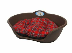 Heavy Duty BROWN Pet Bed With RED TARTAN Cushion UK MADE Dog Or Cat Basket