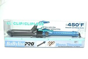 "BaByliss Pro Nano Titanium Clip/Clipless 1 1/4"" Curling Iron - Blue"
