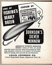 1963 Print Ad Johnson's Silver Minnow Fishing Lures Highland Park,IL