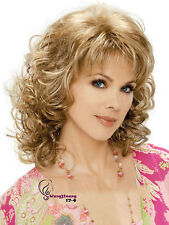 Fashion Womens Synthetic Wig Blonde Golden Mix Long Curly Ladies wigs + Wig Cap