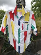 Vtg Hawaiian Jams SurfLine International Colorful Paint Button Up Men's Medium
