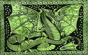 Tapestry Small Dragon Design Poster Wall Hanging Cotton Fabric Handmade Indian