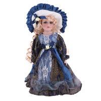Elegant Girls Ceramics Doll w. Wood Stand For Victorian Porcelain Doll