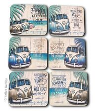 Kombi Revival Vintage VW Combi Table Coasters set of 6 Happiness Lisa Pollock