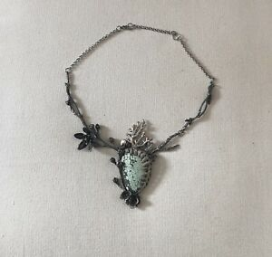 OOAK Sterling Silver & Turquoise Fantasy Mermaid Necklace By JAMIE SPINELLO