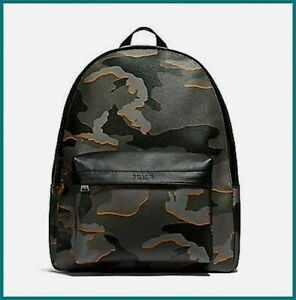 NEW COACH CHARLES MEN'S BACKPACK (F31557) CAMO GREY MULTI ANTIQUE NICKEL X-LARGE