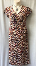 Size12 Wrap Midi Dress Stretch Corporate Work Office Smart Casual Travel Dinner
