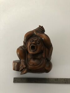 Antique Vintage Japanese/ Chinese plum wood Netsuke signed Monk
