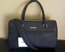 NWT Calvin Klein Authentic Black Saffiano Leather Satchel Purse Handbag H3JD12BT