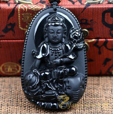 100% Natural Obsidian Hand-carved Ride Elephant Kwanyin Amulet Pendant Necklace