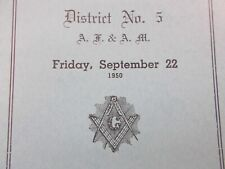 1950 Masons Meeting District 5 Masonic Clark Lodge Chester Nova Scotia Program