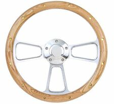 "Oak Wood w/ rivets Billet Steering Wheel Fits Ididit Column 14"" Chevy Bowtie Cap"