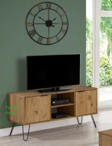 Retro Augusta 2 Door 2 Shelf Solid Waxed Pine Flat Screen TV Unit Stand Cabinet