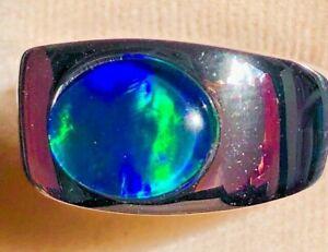 ENVY 100% Natural Solid Lightening Ridge Australian Black Opal Men Ring 11 V