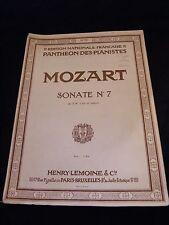 Spartito Mozart Sonata N°7 Pantheon dei pianisti