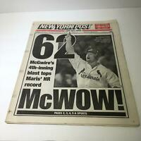 New York Post: Sept 9 1998 62 McWow! Mark Mcgwire HR chase