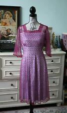 Handmade Sheer Purple Floral Velvety Lace Fully Lined Sundress Day Dress