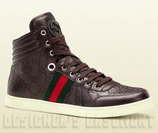 GUCCI Mens 10.5G* brown CODA GUCCISSIMA leather High Top Sneakers NIB Auth $595!