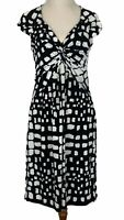 Basque Womens Black/White Spotted Cap Sleeve Dress Size 10