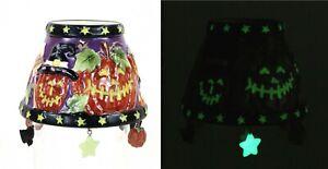 """Yankee Candle JACK-O-LANTERN 3"""" Jar Shade Glow In Dark Halloween Bat Pumpkin"""