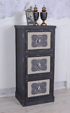 Chest of Drawers Antique Style Bedside Table Black Vintage