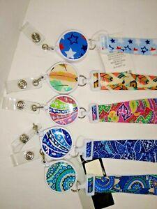 Lanyard Fabric with Retractable Badge Holder Choice Print  USA seller
