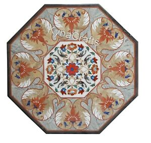 Octagon Marble Coffee Table Top Mosaic Art Center Table from Cottage Art 24 Inch