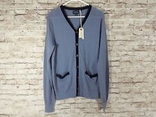 NWT Mens Medium Faconnable Blue Cardigan Sweater Blue Passe B31 with Flaws