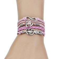 Infinity Love Heart Pearl Friendship Bracelet Multi layer Cuff Bangle Wristband