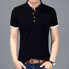 2018 Men T-shirt Solid Color Slim Fit Casual Short Sleeve Mandarin Collar