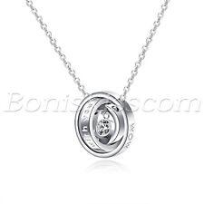 Mens Women Couples Stainless Steel Rhinestone Interlocking Ring Pendant Necklace