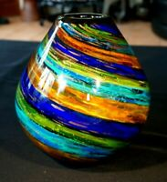 Beautiful Art Glass Vase In Rust, Blues And Greens With Gold Inclusions